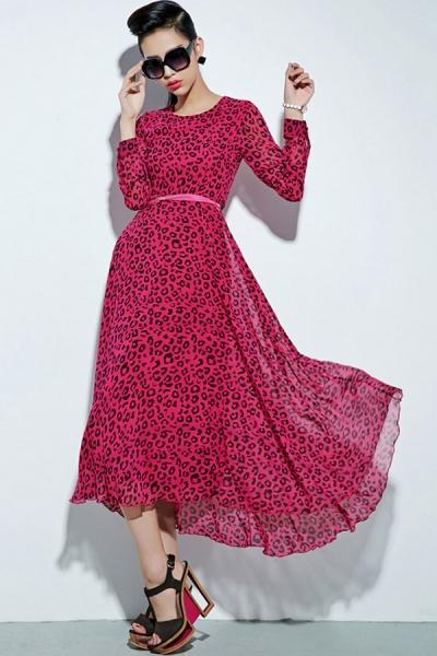 leopard-long-sleeve-chiffon-dress