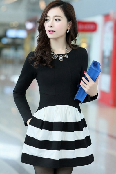 street-chic-long-sleeve-striped-dress